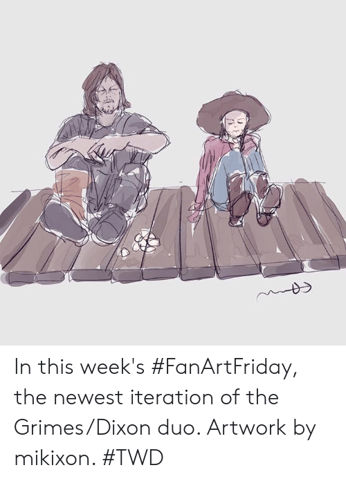 twd: In this week's #FanArtFriday, the newest iteration of the Grimes/Dixon duo. Artwork by mikixon. #TWD