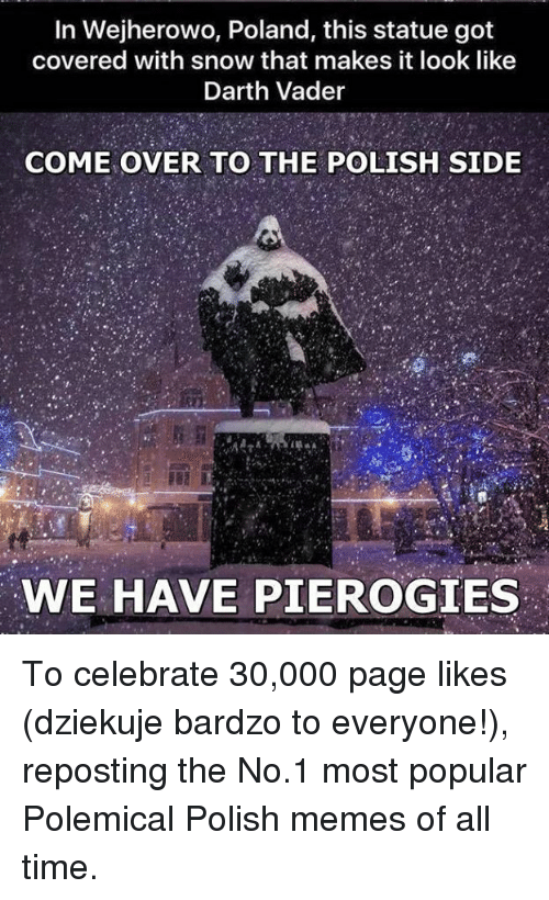Polish Memes: In Wejherowo, Poland, this statue got  covered with snow that makes it look like  Darth Vader  COME OVER TO THE POLISH SIDE  WE HAVE PIEROGIES To celebrate 30,000 page likes (dziekuje bardzo to everyone!), reposting the No.1 most popular Polemical Polish memes  of all time.