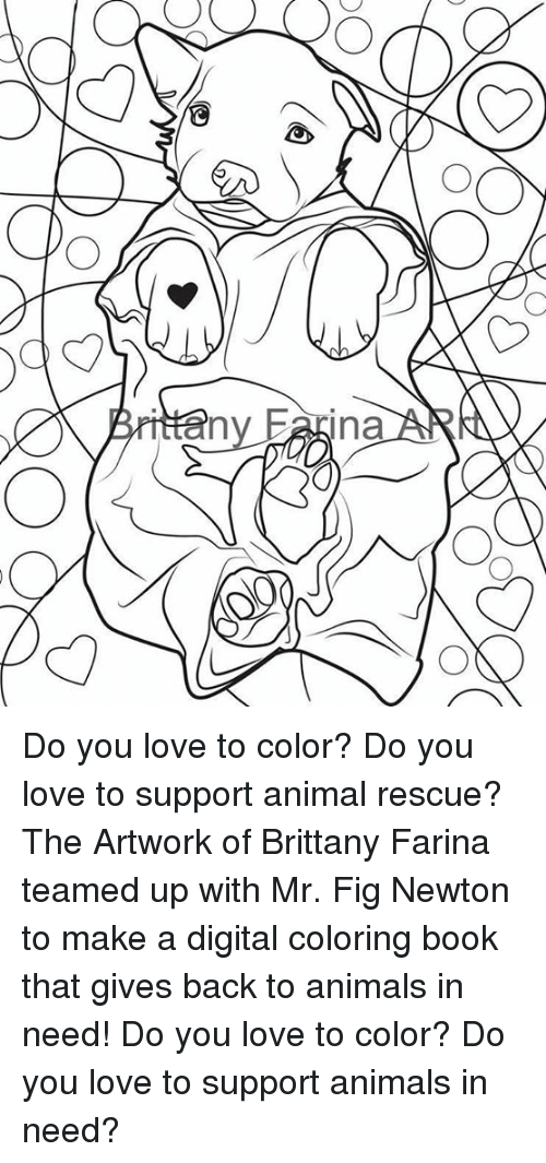 Fig Newtons: Ina Do you love to color? Do you love to support animal rescue?  The Artwork of Brittany Farina teamed up with Mr. Fig Newton to make a digital coloring book that gives back to animals in need!   Do you love to color? Do you love to support animals in need?