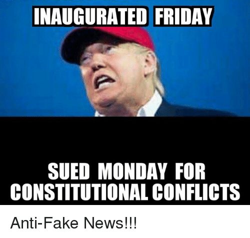 Inaugurated Friday Sued Monday For Constitutional Conflicts Anti