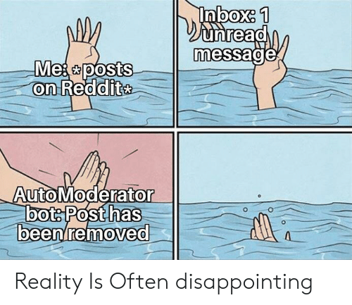 Inbox, Reality, and Mes: Inbox: 1  Dunread  message  Mes posts  on Reddite  AutoModerator  bots Posthas  beenremoved Reality Is Often disappointing