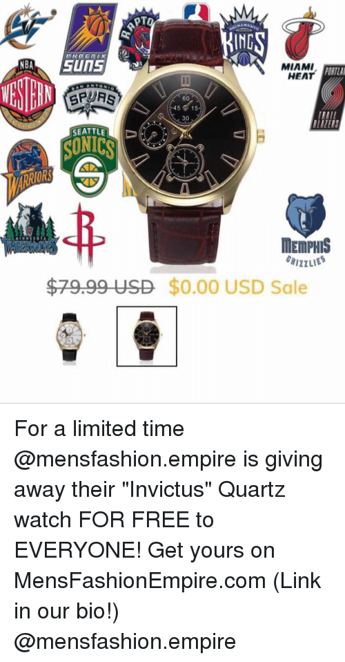 """Basketball, Empire, and Miami Heat: IND  MIAMI  HEAT  ORTLA  4515  30  SEATTLE  SUNICS  ORS  MEMPHIS  $79.99 USD $0.00 USD Sale For a limited time @mensfashion.empire is giving away their """"Invictus"""" Quartz watch FOR FREE to EVERYONE! Get yours on MensFashionEmpire.com (Link in our bio!) @mensfashion.empire"""