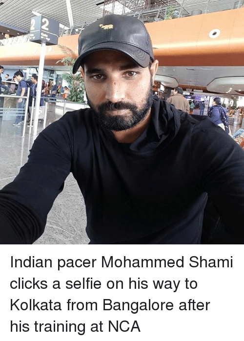 bangalore: Indian pacer Mohammed Shami clicks a selfie on his way to Kolkata from Bangalore after his training at NCA