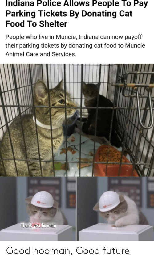 Indiana: Indiana Police Allows People To Pay  Parking Tickets By Donating Cat  Food To Shelter  People who live in Muncie, Indiana can now payoff  their parking tickets by donating cat food to Muncie  Animal Care and Services.  CAL  Thank you hooman Good hooman, Good future