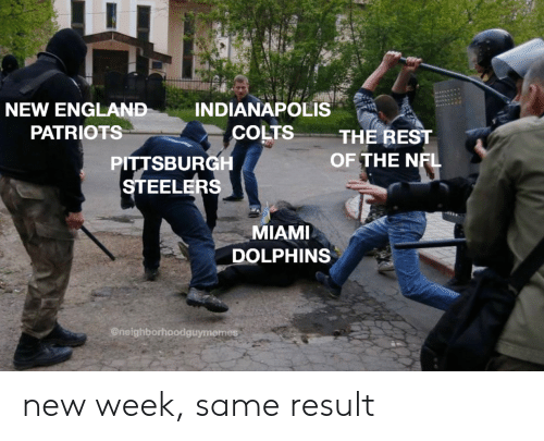 Pittsburgh Steelers: INDIANAPOLIS  COLTS  NEW ENGLAND  PATRIOTS  THE REST  OF THE NFL  PITTSBURGH  STEELERS  MIAMI  DOLPHINS  @neighborhoodguymemes new week, same result
