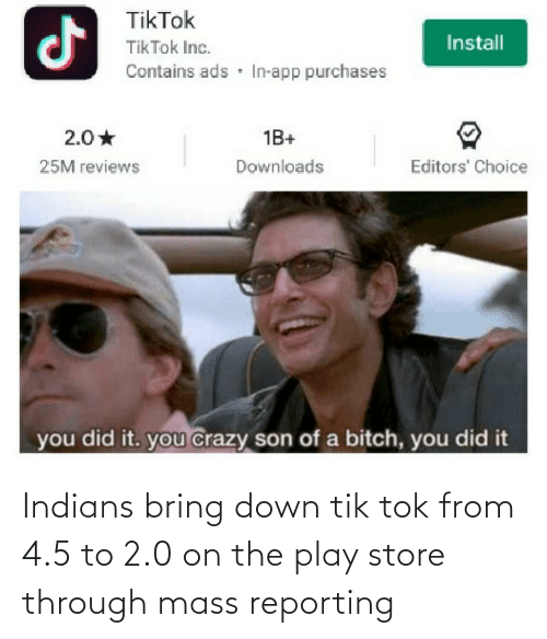 play: Indians bring down tik tok from 4.5 to 2.0 on the play store through mass reporting
