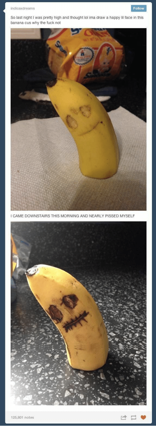 Why The Fuck Not: indicaxdreams  Follow  So last night I was pretty high and thought lol ima draw a happy lil face in this  banana cus why the fuck not  O'O  ICAME DOWNSTAIRS THIS MORNING AND NEARLY PISSED MYSELF  125,801 notes
