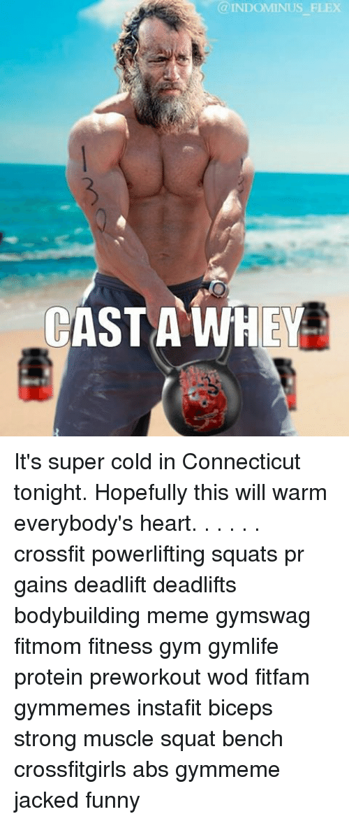 Bodybuilder Meme: INDOMINUS FLEX  CAST A WHEY It's super cold in Connecticut tonight. Hopefully this will warm everybody's heart. . . . . . crossfit powerlifting squats pr gains deadlift deadlifts bodybuilding meme gymswag fitmom fitness gym gymlife protein preworkout wod fitfam gymmemes instafit biceps strong muscle squat bench crossfitgirls abs gymmeme jacked funny