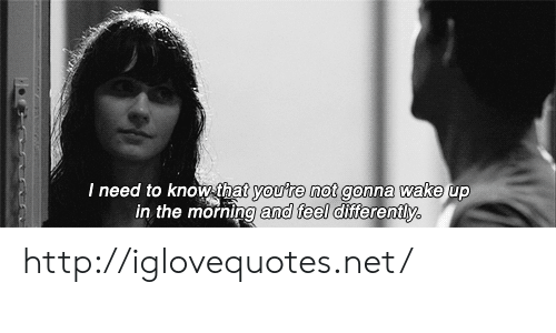 Http, Net, and Wake: Ineed to Knowthat  youre not gonna wake  up  in the morning and feel differently http://iglovequotes.net/