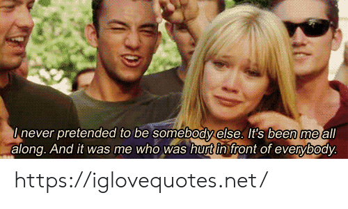Been, Net, and Who: Inever pretended to be somebody else. It's been me all  along. And it was me who was hurt in front of everybody. https://iglovequotes.net/