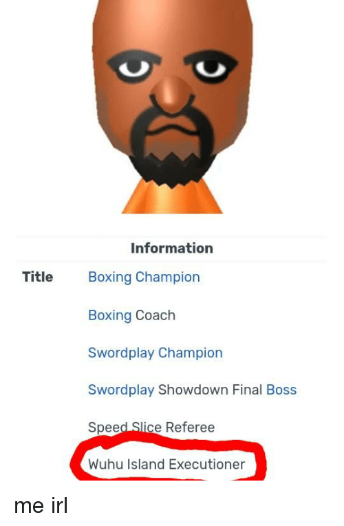 Boxing, Final Boss, and Information: Information  Title Boxing Champion  Boxing Coach  Swordplay Champion  Swordplay Showdown Final Boss  Speed Slice Referee  Wuhu Island Executioner