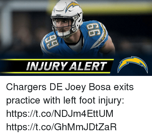 Memes, Chargers, and 🤖: INJURY ALERT Chargers DE Joey Bosa exits practice with left foot injury: https://t.co/NDJm4EttUM https://t.co/GhMmJDtZaR