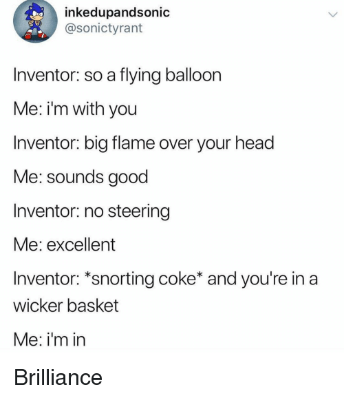 Funny, Head, and Good: inkedupandsonic  @sonictyrant  Inventor: so a flying balloon  Me: i'm with you  Inventor: big flame over your head  Me: sounds good  Inventor: no steering  Me: excellent  Inventor: *snorting coke* and you're in a  wicker basket  Me: i'm in Brilliance