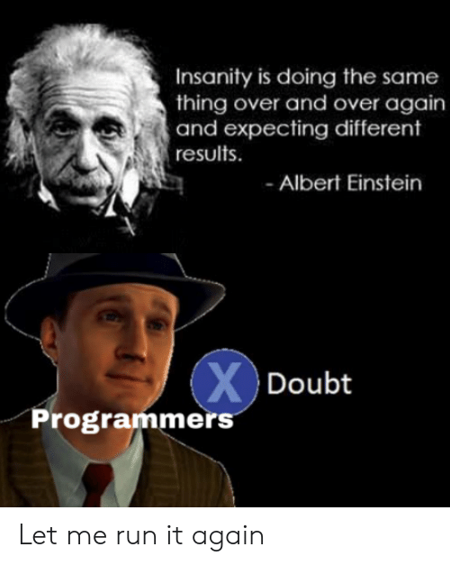 Insanity: Insanity is doing the same  thing over and over again  and expecting different  results  Albert Einstein  XDoubt  Programmers Let me run it again