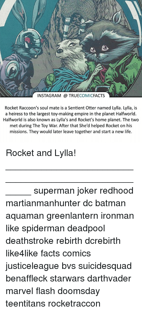 Batman, Empire, and Facts: INSTAGRAM TRUE  COMIC  FACTS  Rocket Raccoon's soul mate is a Sentient Otter named Lylla. Lylla, is  a heiress to the largest toy-making empire in the planet Halfworld  Halfworld is also known as Lylla's and Rocket's home planet. The two  met during The Toy War. After that She'd helped Rocket on his  missions. They would later leave together and start a new life. Rocket and Lylla! ⠀_______________________________________________________ superman joker redhood martianmanhunter dc batman aquaman greenlantern ironman like spiderman deadpool deathstroke rebirth dcrebirth like4like facts comics justiceleague bvs suicidesquad benaffleck starwars darthvader marvel flash doomsday teentitans rocketraccon