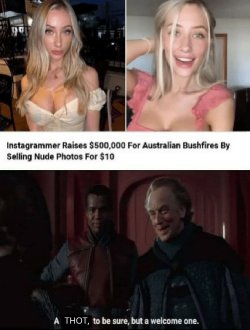 Thot, Nude, and Australian: Instagrammer Raises $500,000 For Australian Bushfires By  Selling Nude Photos For $10  A THOT, to be sure, but a welcome one.