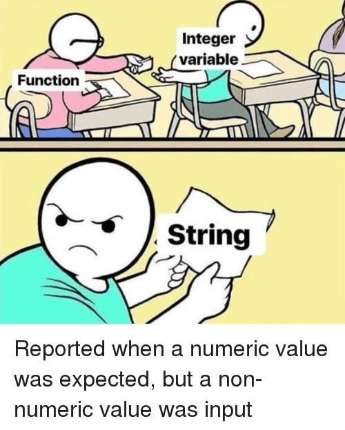 integer: Integer  variable  Function  String Reported when a numeric value was expected, but a non-numeric value was input