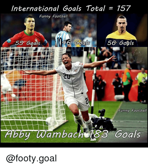 Football, Funny, and Goals: International Goals Total = 157  Funny Football  55 Goals  56 Goals  oals  Funny Football  Abby Wambach 83 Goals @footy.goal