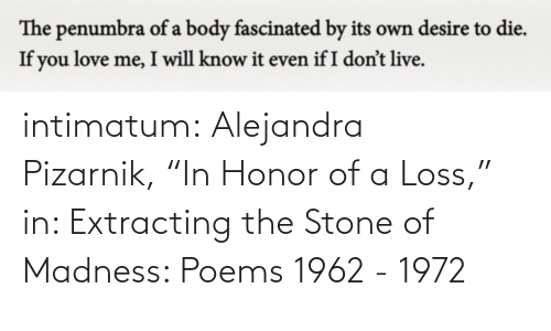 "madness: intimatum: Alejandra Pizarnik, ""In Honor of a Loss,"" in: Extracting the Stone of Madness: Poems 1962 - 1972"