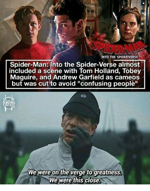 """Memes, Spider, and SpiderMan: INTO THE SPIDERVERSE  Spider-Man: Into the Spider-Verse almost  included a scene with Tom Holland, Tobey  Maguire, and Andrew Garfield as cameos  but was cut to avoid """"confusing people""""  ANTA  W  e were on the verge to greatnesS  We were this close.  ."""