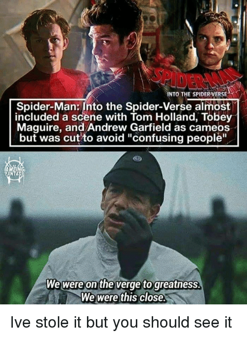 """Spider, SpiderMan, and Tobey Maguire: INTO THE SPIDERVERSE  Spider-Man: Into the Spider-Verse almost  included a scene with Tom Holland, Tobey  Maguire, and Andrew Garfield as cameos  but was cut to avoid """"confusing people""""  ANTA  We were on the verge to greatnesS.  We were this close. Ive stole it but you should see it"""