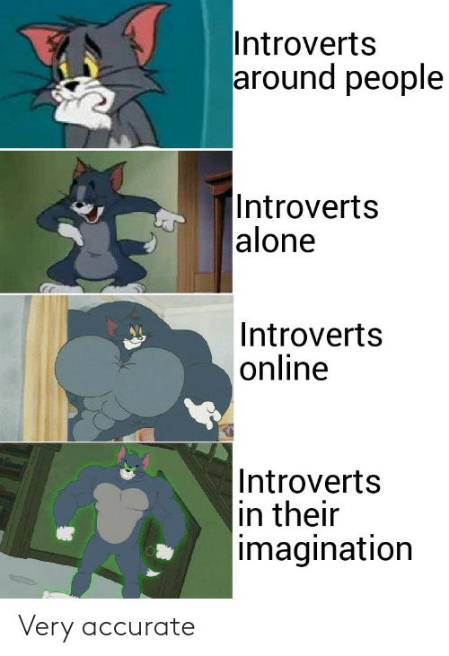 introverts: Introverts  around people  |Introverts  alone  Introverts  online  Introverts  in their  imagination Very accurate