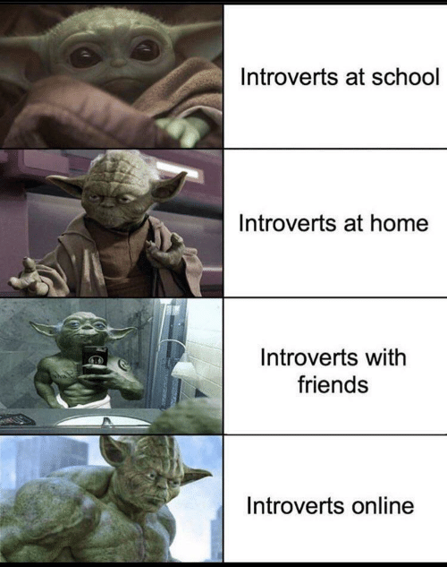 At School: Introverts at school  Introverts at home  Introverts with  friends  Introverts online