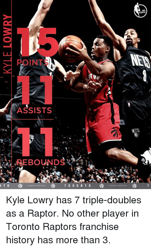 rebounder: INTS  ASSISTS  REBOUNDS  TORONTO  N T O  NEM Kyle Lowry has 7 triple-doubles as a Raptor.  No other player in Toronto Raptors franchise history has more than 3.