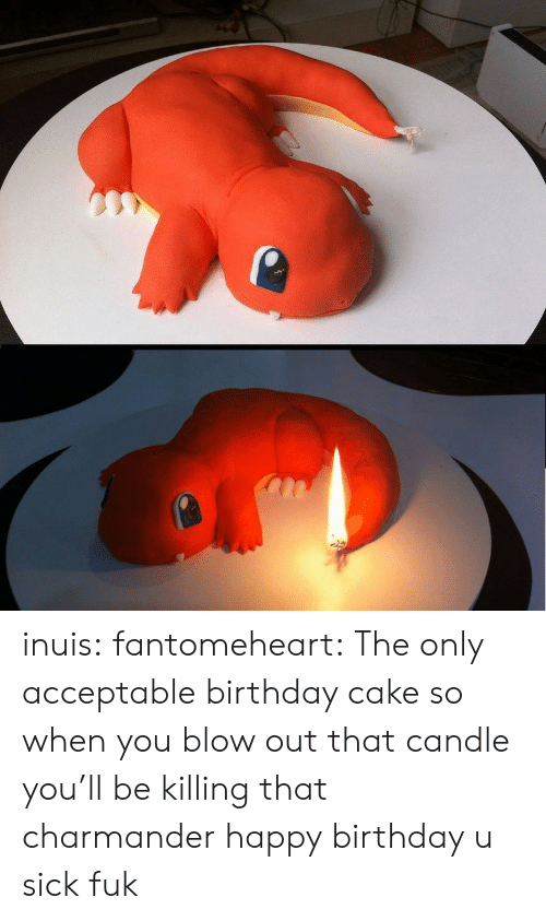charmander: inuis:  fantomeheart:  The only acceptable birthday cake  so when you blow out that candle you'll be killing that charmander happy birthday u sick fuk