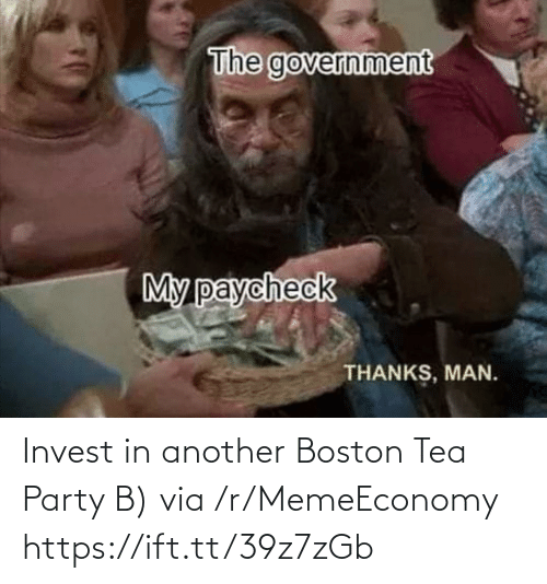tea: Invest in another Boston Tea Party B) via /r/MemeEconomy https://ift.tt/39z7zGb