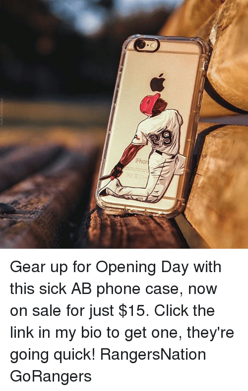 Iphoned: iPhon Gear up for Opening Day with this sick AB phone case, now on sale for just $15. Click the link in my bio to get one, they're going quick! RangersNation GoRangers