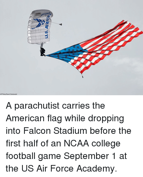 College football: IR FORG  AP Photo/David Zalubowski A parachutist carries the American flag while dropping into Falcon Stadium before the first half of an NCAA college football game September 1 at the US Air Force Academy.