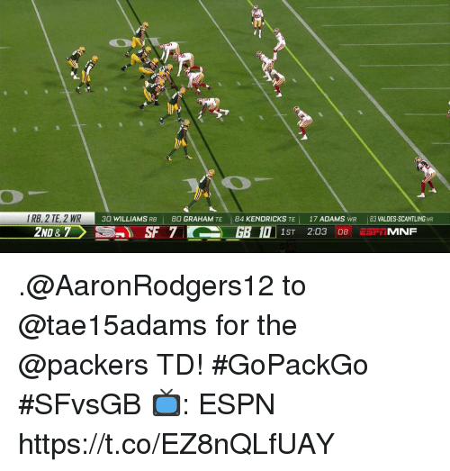 Espn, Memes, and Packers: IRB, 2 TE, 2 WR  30 WILLIAMS RB 80 GRAHAM TE 84 KENDRICKS TE17 ADAMS WR 83 VALDES-SCANTLING WR .@AaronRodgers12 to @tae15adams for the @packers TD! #GoPackGo  #SFvsGB  📺: ESPN https://t.co/EZ8nQLfUAY