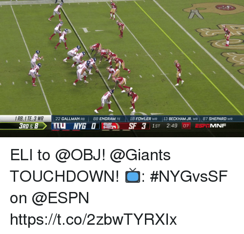 Espn, Memes, and Giants: IRB,I TE, 3 WR  3RD & 8  GAL  22 GALLMAN RB  88 ENGRAM TE  18 FOWLER wR  113 BECKHAM JR. wRI 87 SHEPARD wR  1ST 2:49 07 ESFIMNF ELI to @OBJ!  @Giants TOUCHDOWN!  📺: #NYGvsSF on @ESPN https://t.co/2zbwTYRXIx
