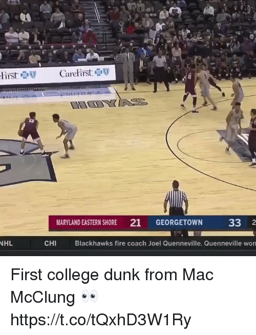 Maryland: ir's  MARYLAND EASTERN SHORE 21 GEORGETOWN  33 2  NHL  CHI  Blackhawks fire coach Joel Quenneville. Quenneville won First college dunk from Mac McClung 👀 https://t.co/tQxhD3W1Ry