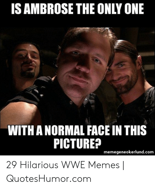 Memes, World Wrestling Entertainment, and Hilarious: IS AMBROSE THE ONLY ONE  WITH A NORMAL FACE IN THIS  PICTURE?  memegeneokerlund.com 29 Hilarious WWE Memes | QuotesHumor.com
