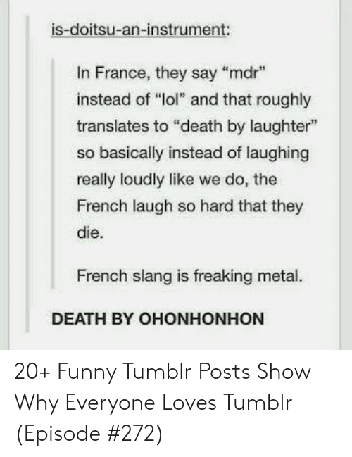 "Roughly: is-doitsu-an-instrument:  In France, they say ""mdr  instead of ""lol"" and that roughly  translates to ""death by laughter""  so basically instead of laughing  really loudly like we do, the  French laugh so hard that they  die.  French slang is freaking metal.  DEATH BY OHONHONHON 20+ Funny Tumblr Posts Show Why Everyone Loves Tumblr (Episode #272)"