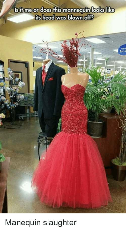 Mannequin: Is it me or does this mannequin looks like  its head was blown off?  looks like  Gett  for l Manequin slaughter