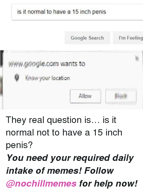 Google, Memes, and Google Search: is it normal to have a 15 inch penis  Google Search  I'm Feeling  wwwgoogle.com wants to  Know your location  Allow  Big <p>They real question is… is it normal not to have a 15 inch penis?</p><p><b><i>You need your required daily intake of memes! Follow <a>@nochillmemes</a>​ for help now!</i></b><br/></p>
