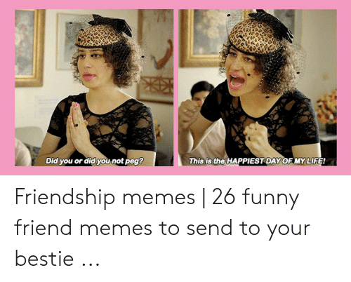 Funny, Life, and Memes: is the  Did you or did you not peg  This  HAPPIESTDAY OF MY LIFE! Friendship memes   26 funny friend memes to send to your bestie ...