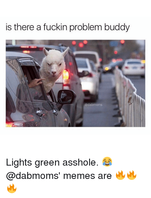 Memes, 🤖, and Light Green: is there a fuckin problem buddy  adabmoms Lights green asshole. 😂 @dabmoms' memes are 🔥🔥🔥