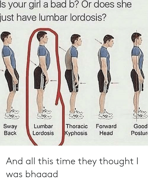 lumbar lordosis: Is your girl a bad b? Or does she  just have lumbar lordosis?  Thoracic Forward  Kyphosis  Sway  Back  Lumbar  Good  Postur  Lordosis  Head And all this time they thought I was bhaaad