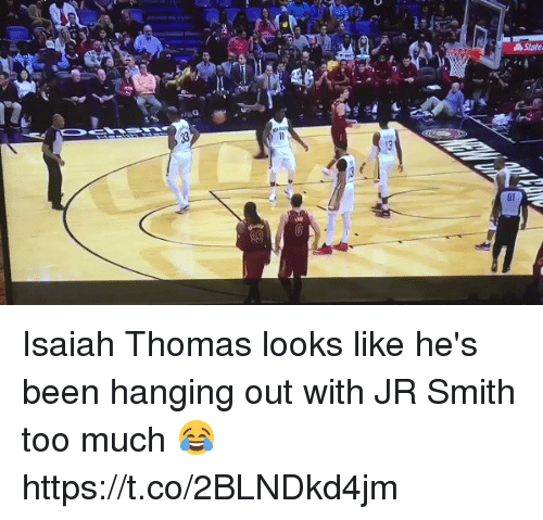 J.R. Smith: Isaiah Thomas looks like he's been hanging out with JR Smith too much 😂 https://t.co/2BLNDkd4jm