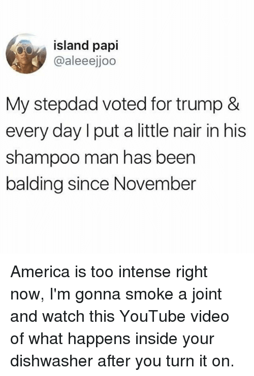 Islander: island papi  @aleeejjoo  My stepdad voted for trump &  every day l put a little nair in his  shampoo man has been  balding since November America is too intense right now, I'm gonna smoke a joint and watch this YouTube video of what happens inside your dishwasher after you turn it on.
