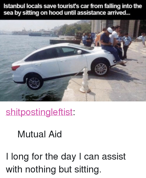 """into-the-sea: Istanbul locals save tourist's car from falling into the  sea by sitting on hood until assistance arrived... <p><a href=""""https://shitpostingleftist.tumblr.com/post/159393105304/mutual-aid"""" class=""""tumblr_blog"""">shitpostingleftist</a>:</p><blockquote><p>Mutual Aid</p></blockquote>  <p>I long for the day I can assist with nothing but sitting.</p>"""