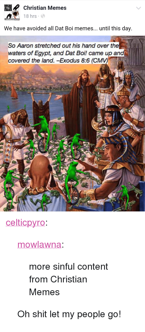 "let my people go: istian Memes  18 hrs  We have avoided all Dat Boi memes... until this day  So Aaron stretched out his hand over the  waters of Egypt, and Dat Boi! came up and  covered the land. -Exodus 8:6 (CMV) <p><a href=""http://celticpyro.tumblr.com/post/146368756164/mowlawna-more-sinful-content-from-christian"" class=""tumblr_blog"">celticpyro</a>:</p>  <blockquote><p><a class=""tumblr_blog"" href=""http://mowlawna.tumblr.com/post/146367716435"">mowlawna</a>:</p> <blockquote> <p>more sinful content from Christian Memes</p> </blockquote>  <p>Oh shit let my people go!<br/></p></blockquote>"