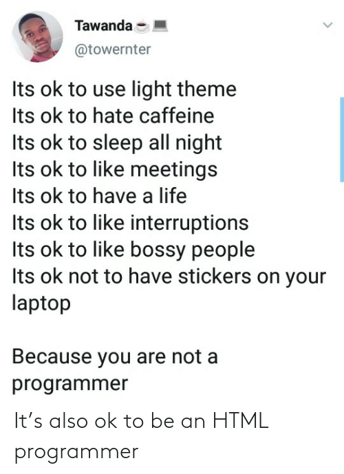 programmer: It's also ok to be an HTML programmer