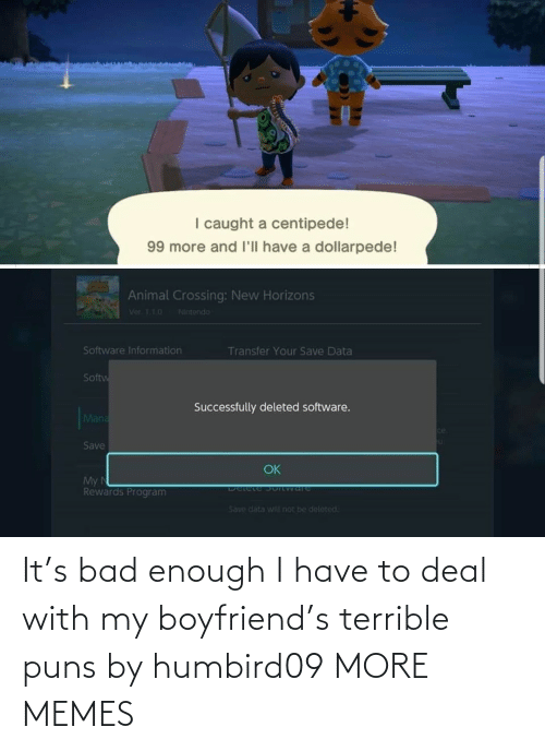 My Boyfriend: It's bad enough I have to deal with my boyfriend's terrible puns by humbird09 MORE MEMES