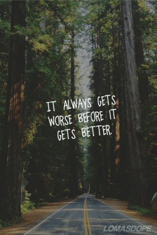 It Gets Better,  Better, and  Gets: IT AWAYS GETS  WORSE BEFORE IT  GETS BETTER  LOMASDO  PE