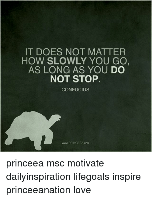 Love, Memes, and Confucius: IT DOES NOT MATTER  HOW SLOWLY YOU GO  AS LONG AS YOU  DO  NOT STOP  CONFUCIUS  www.PRINCEEA.coM princeea msc motivate dailyinspiration lifegoals inspire princeeanation love